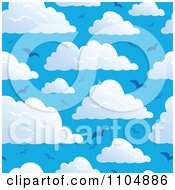 Clipart Seamless Puffy Cloud And Blue Sky And Gull Background Royalty Free Vector Illustration
