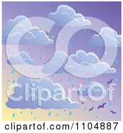 Clipart Seamless Cloud And Rainy Seagull Sky Background Royalty Free Vector Illustration by visekart