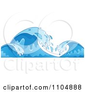 Clipart Blue Ocean Waves And Splashes Royalty Free Vector Illustration by visekart