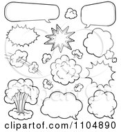 Clipart Outlined Comic Bursts Clouds And Chat Balloons Royalty Free Vector Illustration