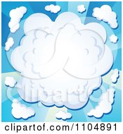 Clipart Comic Cloud Burst On Blue Rays Royalty Free Vector Illustration
