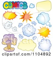 Clipart Comic Bursts Clouds And Chat Balloons Royalty Free Vector Illustration