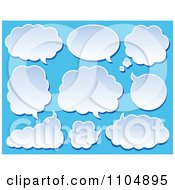 Clipart Cloud Chat Balloons On Blue Royalty Free Vector Illustration