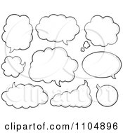 Clipart White Cloud Chat Balloons Royalty Free Vector Illustration
