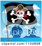 Clipart Olly Roger Pirate Flag And Ship By An Island Royalty Free Vector Illustration by visekart