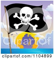 Clipart Olly Roger Pirate Flag And Ship At Sunset Royalty Free Vector Illustration by visekart