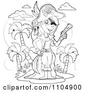Clipart Outlined Female Pirate With A Bird And Pistol On An Island Royalty Free Vector Illustration