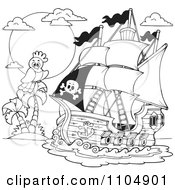 Clipart Outlined Parrot And Pirate Ship Near A Tropical Island Royalty Free Vector Illustration