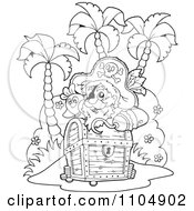 Clipart Outlined Hook Hand Pirate And Parrot On An Island With Treasure Royalty Free Vector Illustration