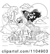 Clipart Outlined Hook Hand Pirate And Parrot On A Raft With Treasure Royalty Free Vector Illustration