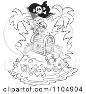 Clipart Outlined Hook Hand Parrot Pirate On An Island With Treasure Royalty Free Vector Illustration