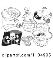 Clipart Outlined Pirate Hat Parrot Hook Hand Sword Flag And Coins Royalty Free Vector Illustration by visekart