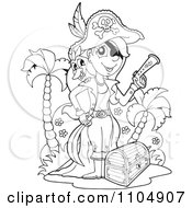 Clipart Outlined Female Pirate With A Treasure Chest Bird And Pistol On An Island Royalty Free Vector Illustration