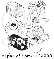 Clipart Outlined Treasure Chest Palm Tree Spyglass Skul And Crossbones Flag And Pirate Royalty Free Vector Illustration by visekart