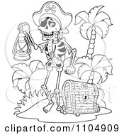 Clipart Outlined Skeleton Pirate Carrying A Lamp On A Beach With A Treasure Chest Royalty Free Vector Illustration