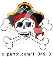 Clipart Pirate Skull And Cross Bones With A Hat Royalty Free Vector Illustration by visekart #COLLC1104910-0161