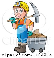Clipart Happy Miner With A Cart And Pickaxe Royalty Free Vector Illustration