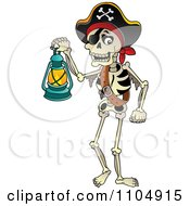 Clipart Skeleton Pirate Carrying A Lamp Royalty Free Vector Illustration by visekart