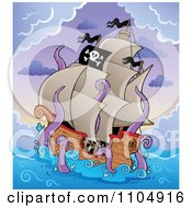 Clipart Pirate Ship Under Attack By A Giant Octopus Or Squid Royalty Free Vector Illustration by visekart