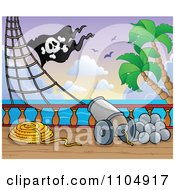 Clipart Canon On A Pirate Ship Deck Royalty Free Vector Illustration by visekart