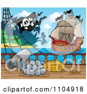 Clipart Canon On A Pirate Ship Deck Pointed Toward Another Ship Royalty Free Vector Illustration