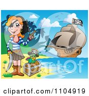 Clipart Female Pirate On A Beach With A Parrot And Treasure Chest And Her Ship In The Background - Royalty Free Vector Illustration by visekart