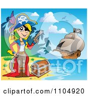Clipart Female Pirate On A Beach With Treasure And Her Ship In The Background Royalty Free Vector Illustration