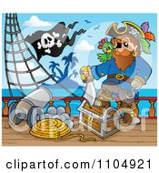 Clipart Pirate Captain With Treasure On A Ship Deck With A Canon Royalty Free Vector Illustration