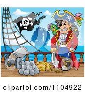 Clipart Pirate Captain On A Ship Deck With A Canon Royalty Free Vector Illustration by visekart