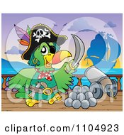 Clipart Parrot Pirate With A Canon On A Ship Deck During Battle Royalty Free Vector Illustration by visekart