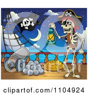 Clipart Skeleton Pirate Carrying A Lantern On Deck By A Cannon At Night Royalty Free Vector Illustration