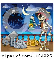 Clipart Skeleton Pirate Carrying A Lantern On Deck During A Battle Royalty Free Vector Illustration
