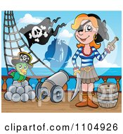 Clipart Female Pirate With Weapons And Her Parrot By A Cannon On A Pirate Ship 1 Royalty Free Vector Illustration by visekart