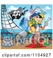 Clipart Female Pirate With Weapons And Her Parrot By A Cannon On A Pirate Ship 2 Royalty Free Vector Illustration by visekart