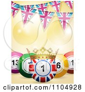 Clipart 3d Union Jack Bingo Ball With A Crown And Pink And Blue Union Jack Bunting Flags Royalty Free Vector Illustration by elaineitalia