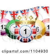Clipart 3d Union Jack Bingo Ball With A Crown And Union Jack Bunting Flags Royalty Free Vector Illustration by elaineitalia