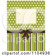Retro Invitation Background With A Brown Bow And Frame Over Polkda Dots On Green With Stripes