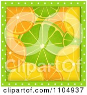 Clipart Green Polka Dots Framing Orange Lime And Lemon Slices Royalty Free Vector Illustration by elaineitalia