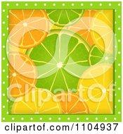 Green Polka Dots Framing Orange Lime And Lemon Slices