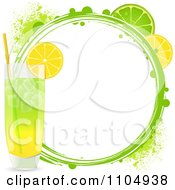 Clipart Highball Cocktail With Lemon And Lime Slices And A Grunge Circle Royalty Free Vector Illustration