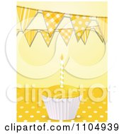3d Birthday Cupcake And Candle On Polkda Dots Under Bunting Flags On Yellow