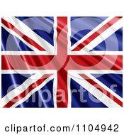 Clipart Rippling Union Jack British Flag Royalty Free CGI Illustration
