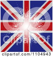 Clipart Star Burst Over A Union Jack Flag Royalty Free Vector Illustration