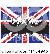 Clipart Silhouetted Dancers On A Grunge Bar Over Stars And A Union Jack Flag Royalty Free Vector Illustration