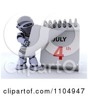 Clipart 3d Robot Turning To A July 4th Calendar Page Royalty Free CGI Illustration