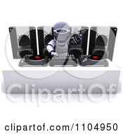 Clipart 3d Dj Robot Mixing Records Royalty Free CGI Illustration