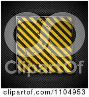 Clipart 3d Hazard Stripes Grungy Plaque Over Dark Perforated Metal Royalty Free Vector Illustration