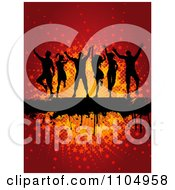 Clipart Silhouetted Dancers Over A Grunge Bar Over A Star Burst On Red Royalty Free Vector Illustration