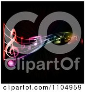Clipart Neon Music Notes On Black Royalty Free Vector Illustration