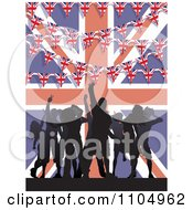 Clipart Silhoutted Dancers With Buntings And A Union Jack Flag Royalty Free Vector Illustration